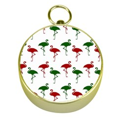 Flamingos Christmas Pattern Red Green Gold Compass by CrypticFragmentsColors