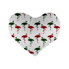 Flamingos Christmas Pattern Red Green Standard 16  Premium Flano Heart Shape Cushion