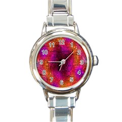 Purple Orange Pink Colorful Round Italian Charm Watch by yoursparklingshop