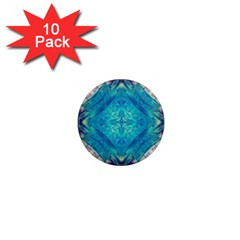 Boho Hippie Tie Dye Retro Seventies Blue Violet 1  Mini Magnet (10 Pack)  by CrypticFragmentsDesign