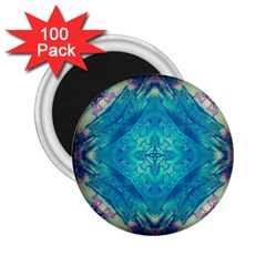 Boho Hippie Tie Dye Retro Seventies Blue Violet 2 25  Magnets (100 Pack)