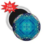 Boho Hippie Tie Dye Retro Seventies Blue Violet 2.25  Magnets (100 pack)  Front