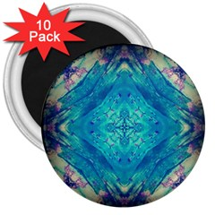Boho Hippie Tie Dye Retro Seventies Blue Violet 3  Magnets (10 Pack)  by CrypticFragmentsDesign