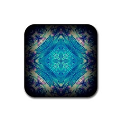 Boho Hippie Tie Dye Retro Seventies Blue Violet Rubber Coaster (square)  by CrypticFragmentsDesign