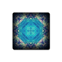 Boho Hippie Tie Dye Retro Seventies Blue Violet Square Magnet by CrypticFragmentsDesign