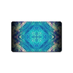 Boho Hippie Tie Dye Retro Seventies Blue Violet Magnet (name Card) by CrypticFragmentsDesign