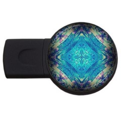 Boho Hippie Tie Dye Retro Seventies Blue Violet Usb Flash Drive Round (2 Gb)  by CrypticFragmentsDesign