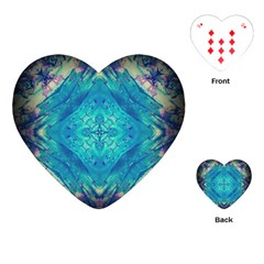 Boho Hippie Tie Dye Retro Seventies Blue Violet Playing Cards (heart)  by CrypticFragmentsDesign