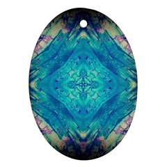 Boho Hippie Tie Dye Retro Seventies Blue Violet Oval Ornament (two Sides) by CrypticFragmentsDesign