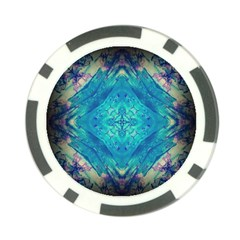 Boho Hippie Tie Dye Retro Seventies Blue Violet Poker Chip Card Guards by CrypticFragmentsDesign