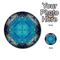 Boho Hippie Tie Dye Retro Seventies Blue Violet Multi-purpose Cards (round)