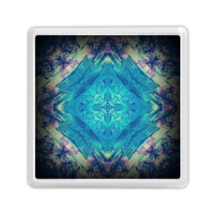 Boho Hippie Tie Dye Retro Seventies Blue Violet Memory Card Reader (square)  by CrypticFragmentsDesign
