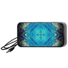 Boho Hippie Tie Dye Retro Seventies Blue Violet Portable Speaker (black)