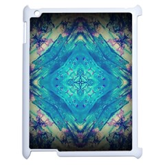 Boho Hippie Tie Dye Retro Seventies Blue Violet Apple Ipad 2 Case (white) by CrypticFragmentsDesign