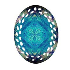 Boho Hippie Tie Dye Retro Seventies Blue Violet Oval Filigree Ornament (2 Side)  by CrypticFragmentsDesign