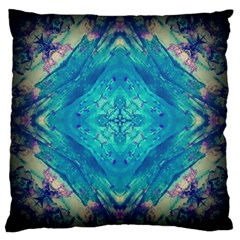 Boho Hippie Tie Dye Retro Seventies Blue Violet Large Cushion Case (two Sides) by CrypticFragmentsDesign