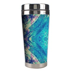 Boho Hippie Tie Dye Retro Seventies Blue Violet Stainless Steel Travel Tumblers by CrypticFragmentsDesign