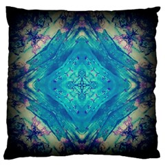 Boho Hippie Tie Dye Retro Seventies Blue Violet Large Flano Cushion Case (one Side) by CrypticFragmentsDesign