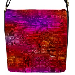 Purple Orange Pink Colorful Art Flap Messenger Bag (s) by yoursparklingshop