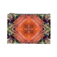 Boho Bohemian Hippie Floral Abstract Faded  Cosmetic Bag (large)  by CrypticFragmentsDesign