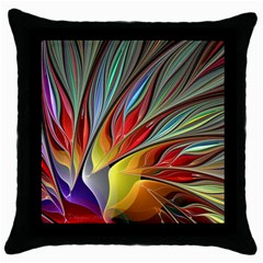 Fractal Bird Of Paradise Throw Pillow Case (black) by WolfepawFractals
