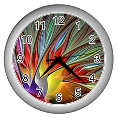 Fractal Bird Of Paradise Wall Clock (silver)