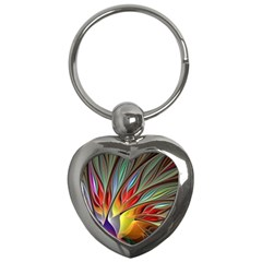Fractal Bird Of Paradise Key Chain (heart)