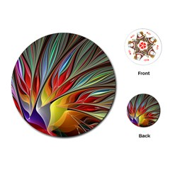 Fractal Bird Of Paradise Playing Cards (round)