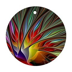 Fractal Bird Of Paradise Round Ornament (two Sides) by WolfepawFractals