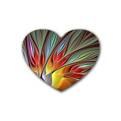 Fractal Bird Of Paradise Rubber Heart Coaster (4 Pack) by WolfepawFractals