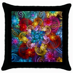 Spirals And Curlicues Throw Pillow Case (black) by WolfepawFractals
