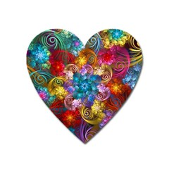 Spirals And Curlicues Heart Magnet by WolfepawFractals