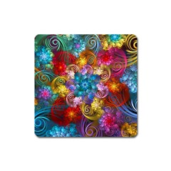 Spirals And Curlicues Square Magnet by WolfepawFractals