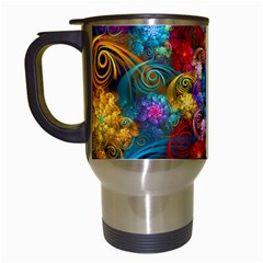 Spirals And Curlicues Travel Mugs (white) by WolfepawFractals