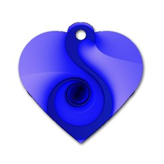 Blue Spiral Note Dog Tag Heart (two Sides) by CrypticFragmentsDesign
