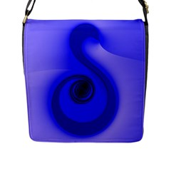 Blue Spiral Note Flap Messenger Bag (l)  by CrypticFragmentsDesign