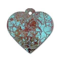Urban Graffiti Grunge Look Dog Tag Heart (two Sides) by CrypticFragmentsDesign