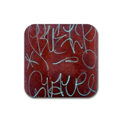 Urban Graffiti Rust Grunge Texture Background Rubber Square Coaster (4 Pack)  by CrypticFragmentsDesign