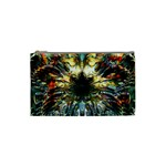 Metallic Abstract Flower Copper Patina Cosmetic Bag (Small)  Front