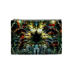 Metallic Abstract Flower Copper Patina Cosmetic Bag (medium)  by CrypticFragmentsDesign