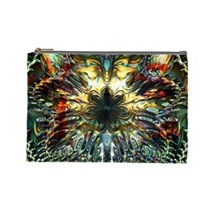 Metallic Abstract Flower Copper Patina Cosmetic Bag (large)  by CrypticFragmentsDesign