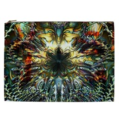 Metallic Abstract Flower Copper Patina Cosmetic Bag (xxl)  by CrypticFragmentsDesign