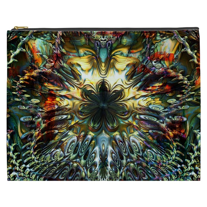 Metallic Abstract Flower Copper Patina Cosmetic Bag (XXXL)