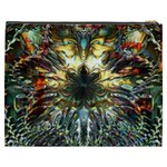 Metallic Abstract Flower Copper Patina Cosmetic Bag (XXXL)  Back