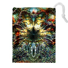 Metallic Abstract Flower Copper Patina Drawstring Pouches (xxl)