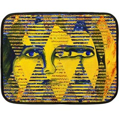 Conundrum Ii, Abstract Golden & Sapphire Goddess Fleece Blanket (mini) by DianeClancy