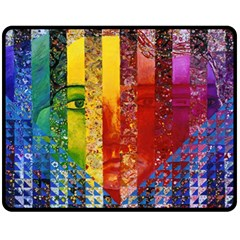 Conundrum I, Abstract Rainbow Woman Goddess  Double Sided Fleece Blanket (medium)  by DianeClancy