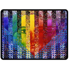Conundrum I, Abstract Rainbow Woman Goddess  Double Sided Fleece Blanket (large)  by DianeClancy