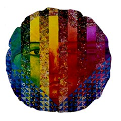Conundrum I, Abstract Rainbow Woman Goddess  Large 18  Premium Flano Round Cushions by DianeClancy