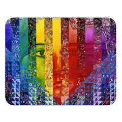Conundrum I, Abstract Rainbow Woman Goddess  Double Sided Flano Blanket (large)  by DianeClancy